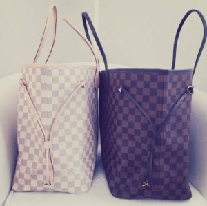 The Damier Azur and Damier Ebene, side by side